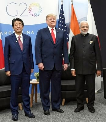 Buenos Aires: Prime Minister Narendra Modi, the President of United States of America Donald Trump and the Prime Minister of Japan Shinzo Abe hold first ever trilateral meeting, on the sidelines of the G-20 Summit, in Buenos Aires, Argentina on Nov 30, 2018. (Photo: IANS/PIB)