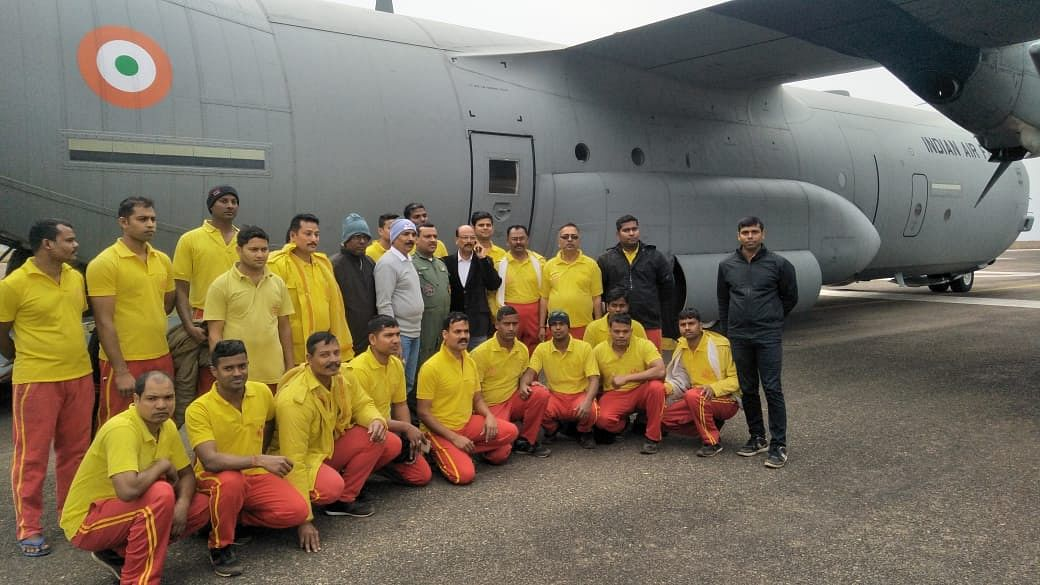Odisha Fire Services team leaves for Meghalaya in a special aircraft to assist local authorities in the rescue operation.