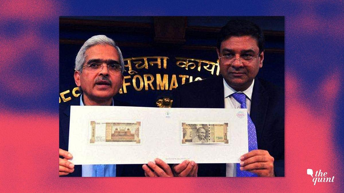 Then-Economic Affairs Secretary Shaktikanta Das and RBI Governor Urjit Patel display the new Rs 500 note, in New Delhi, on November 8, 2016. (Photograph: PTI)
