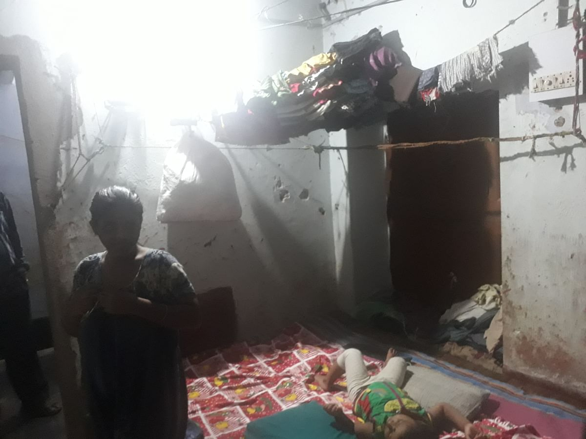 A cramped and dirty room in a shelter home in Odisha.
