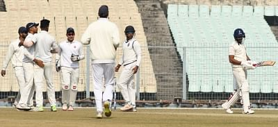 Kolkata: Delhi players celebrate fall of a wicket during a Ranji Trophy match between Bengal and Delhi at Eden Gardens in Kolkata on Dec 31, 2018. (Photo: IANS)