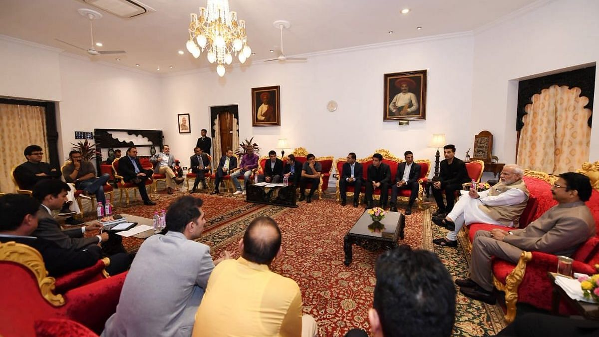 PM Narendra Modi meets with a delegation from the film industry.