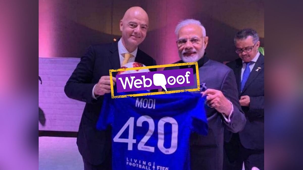 """Viral post on social media falsely claim that Prime Minister Narendra Modi received a FIFA jersey that says, """"MODI 420."""""""