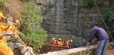 East Jaintia Hills: Rescue operations underway at a water filled coal pit where 13 miners got trapped in Meghalaya's East Jaintia Hills district on Dec 14, 2018. A team of 72 members from the National Disaster Response Force (NDRF), 23 members from the State Disaster Response Force (SDRF) and five members of the Fire and Emergency service were deployed to rescue the trapped miners. The accident inside the coal pit on Thursday was of significance, especially because the National Green Tribun