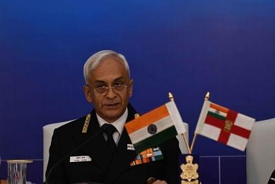 New Delhi: Chief of the Naval Staff Admiral Sunil Lanba addresses a press conference in New Delhi on Dec 3, 2018. (Photo: IANS)
