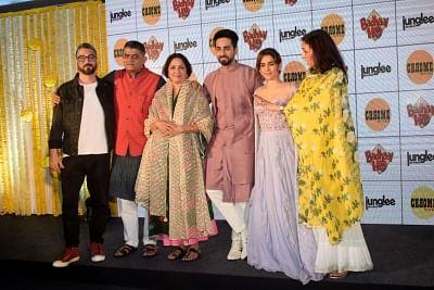 Director Amit Sharma, actors Gajraj Rao, Neena Gupta, Ayushmann Khurrana and Sanya Malhotra. (Photo: IANS)