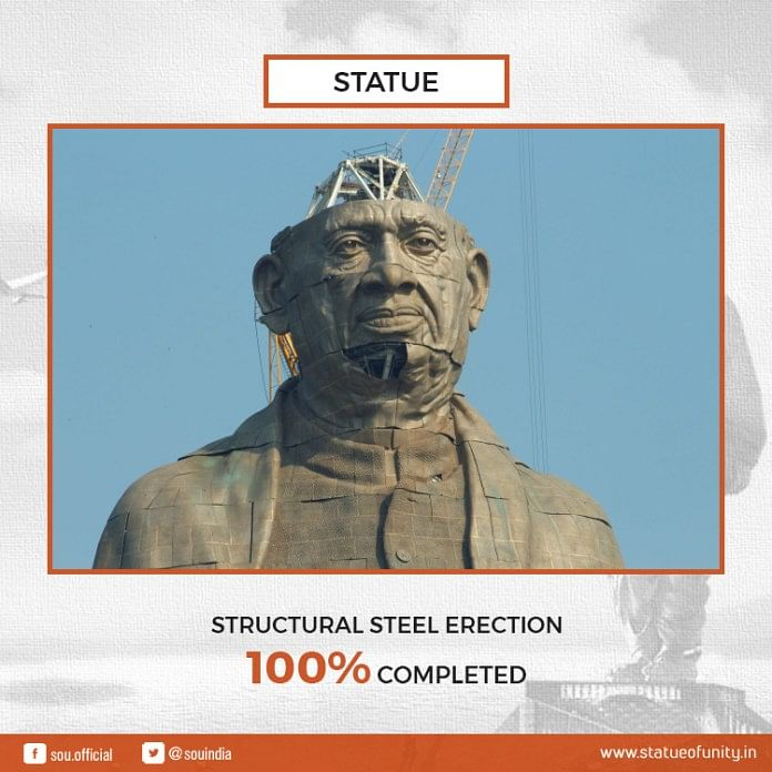 The official website of Statue of Unity posted updates during its construction.