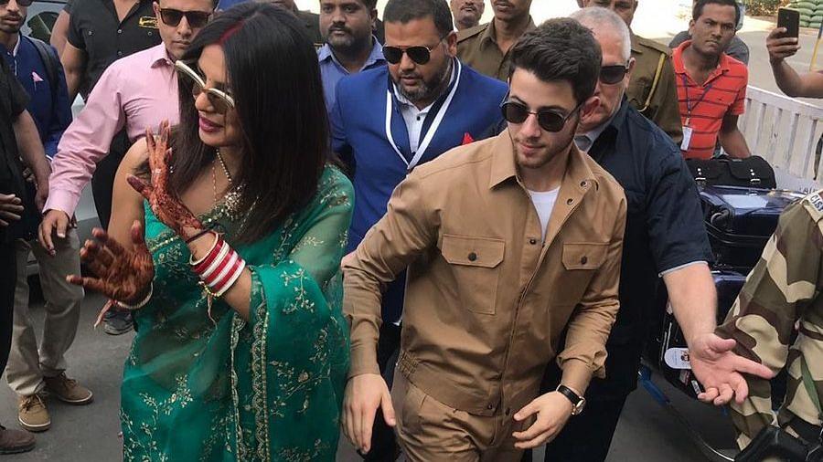 Priyanka Chopra and Nick Jonas  seen leaving Jodhpur.