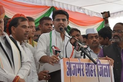 Ajmer: Rajasthan Congress President Sachin Pilot addresses a party rally in poll bound Rajasthan