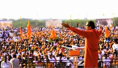 Shiv Sena President Uddhav Thackeray addresses a rally in Maharashtra.