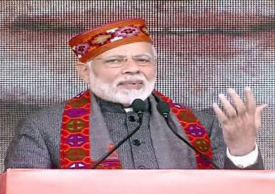 Dharamshala: Prime Minister and BJP leader Narendra Modi addresses during a party rally in Dharamshala, Himachal Pradesh on Dec 27, 2018. (Photo: IANS)