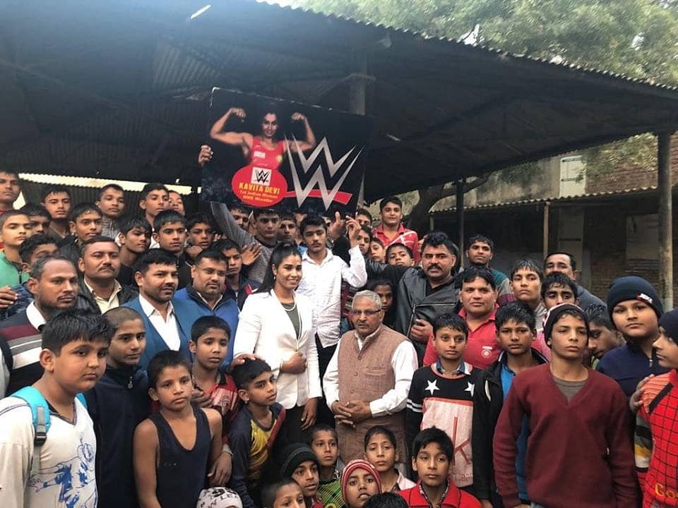 Kavita Devi with fans back home in India.