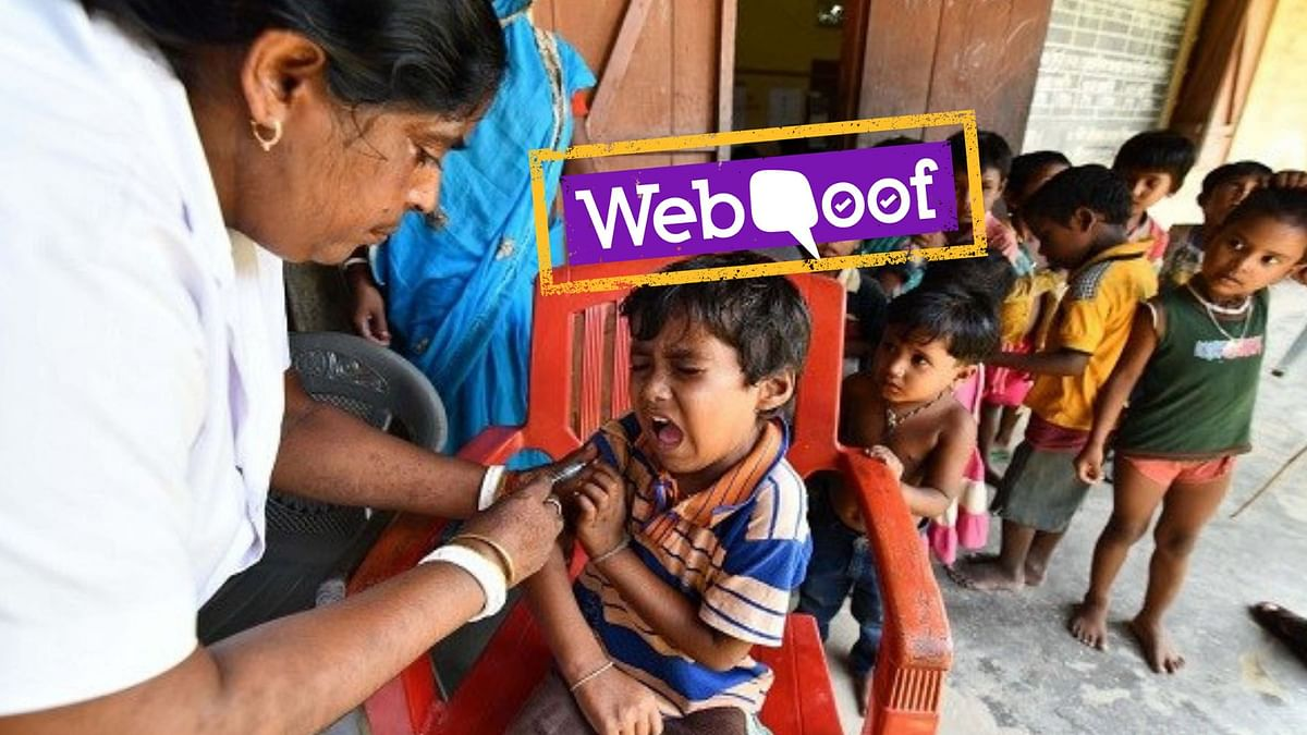 Health worker injects a measles-rubella (MR) vaccine at Hatibhangi village in Morigaon district in Assam.