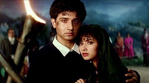 Manisha Koirala in her first film, <i>Saudagar</i>.&nbsp;