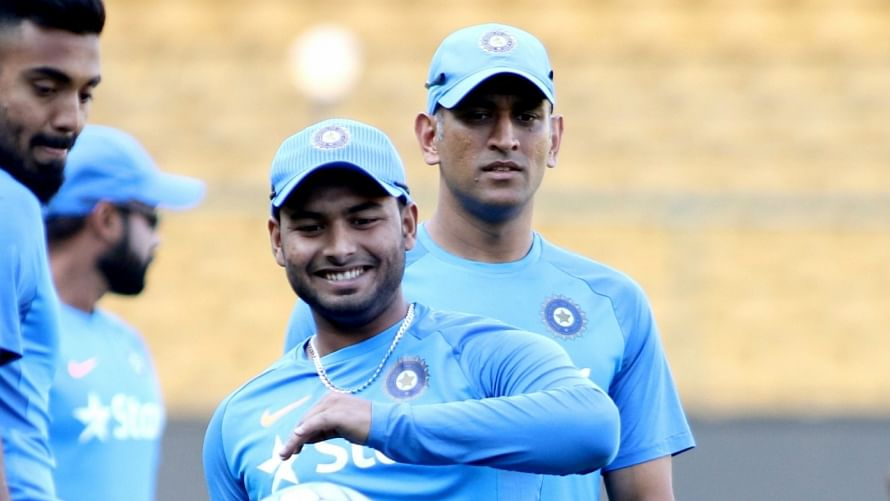 File photo of Rishabh Pant and MS Dhoni at an India practice session.