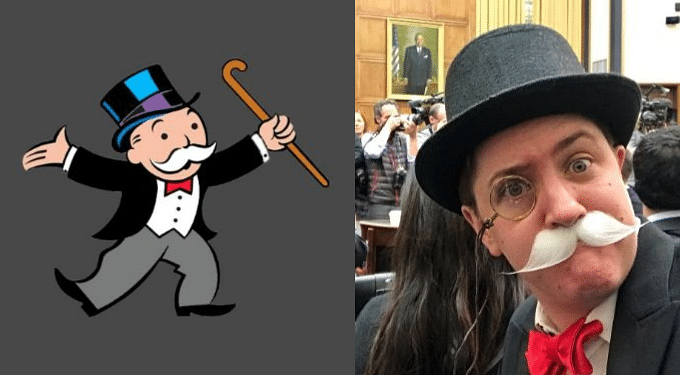 Rich Uncle Pennybags, mascot of the board game Monopoly (L) and Madrigal dressed as the Monopoly Man.