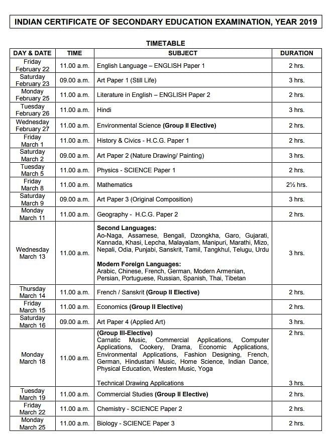 ICSE, ISC Exams 2019 Time Table Released