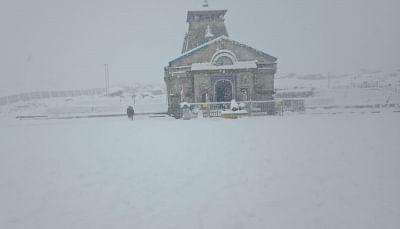 Kedarnath (Uttarakhand): A view of the Kedarnath Temple during heavy snowfall in Uttarakhand on Nov 15, 2018. (Photo IANS)