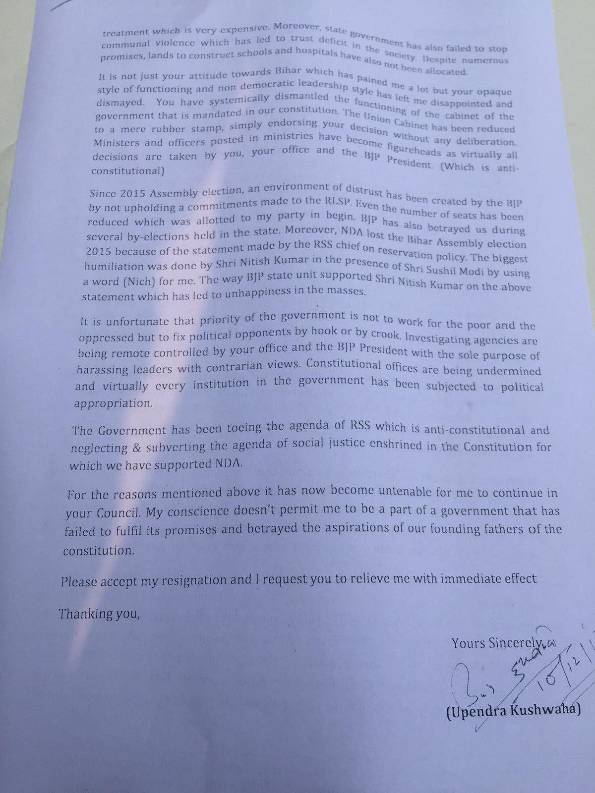 Kushwaha's resignation letter.