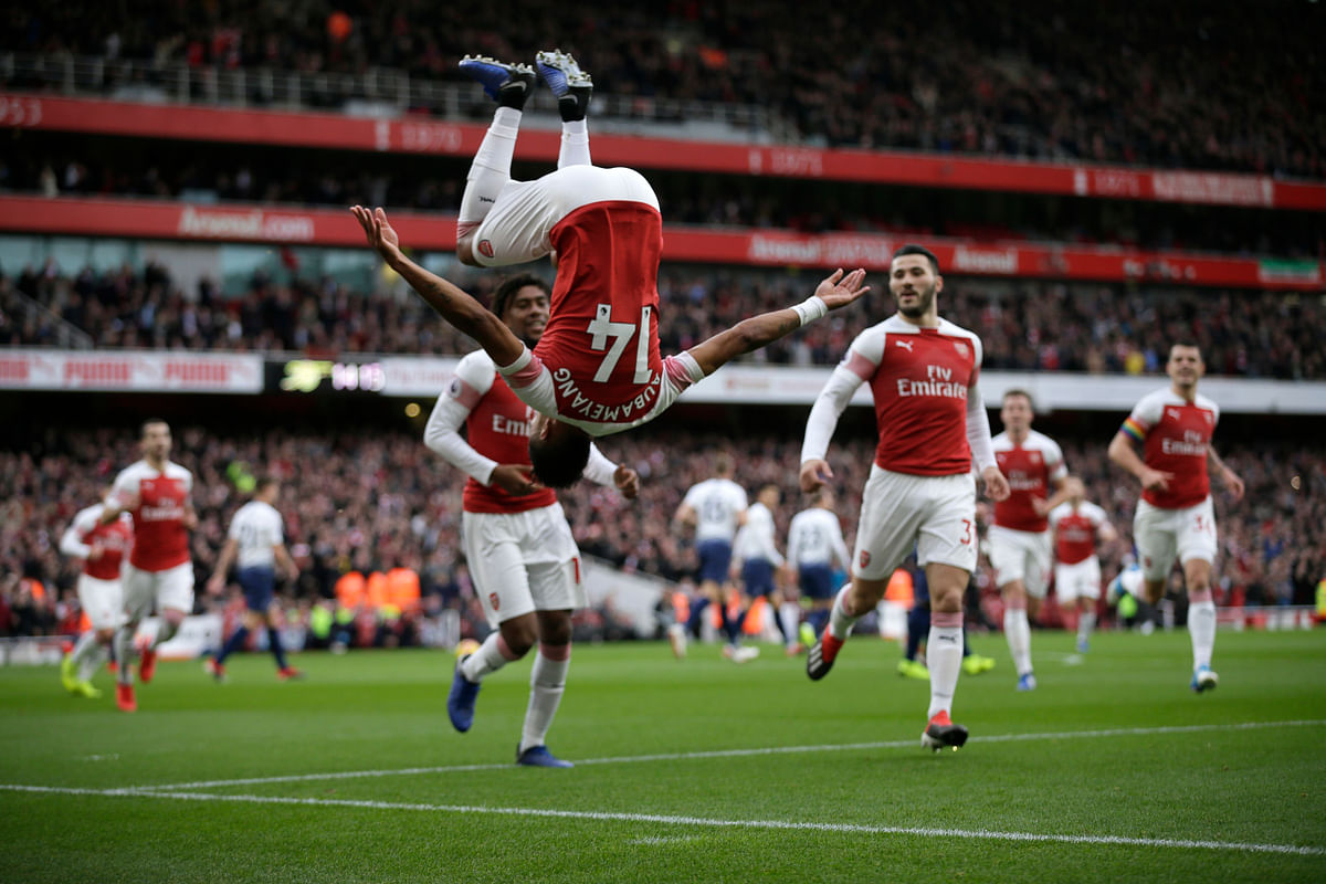 Aubameyang scored a brace as Arsenal moved above Tottenham, on goal difference, into fourth place thanks to a 4-2 win over its fierce north London rival.