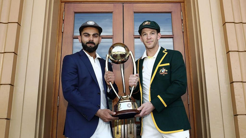 File: Captains Virat Kohli and Tim Paine pose with the trophy ahead of India's opening Test vs Australia at Adelaide.