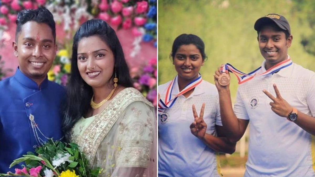 Indian archers Deepika Kumari and Atanu Das exchanged rings in an engagement ceremony in Ranchi.