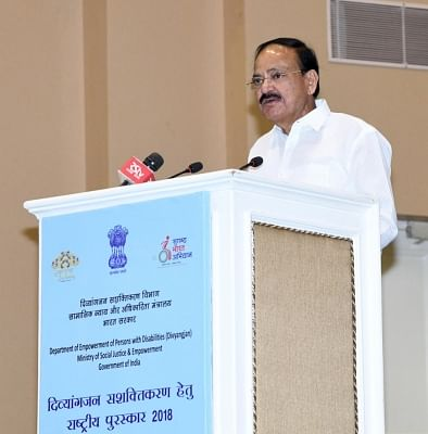 New Delhi: Vice President M. Venkaiah Naidu addresses after presenting the National Award for the Empowerment of Persons with Disabilities (Divyangjan), on the occasion of the International Day of Persons with Disabilities, in New Delhi on Dec 3, 2018. (Photo: IANS/PIB)