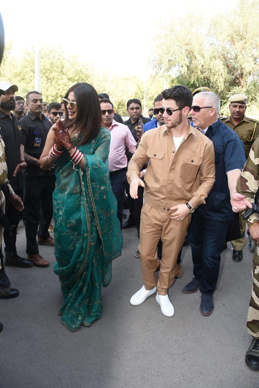 Nick and Priyanka at Jodhpur airport.