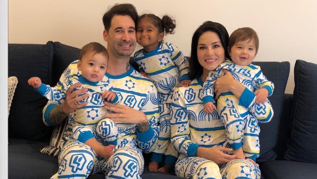 Sunny Leone, Daniel Weber and their little brood celebrate Hanukkah.