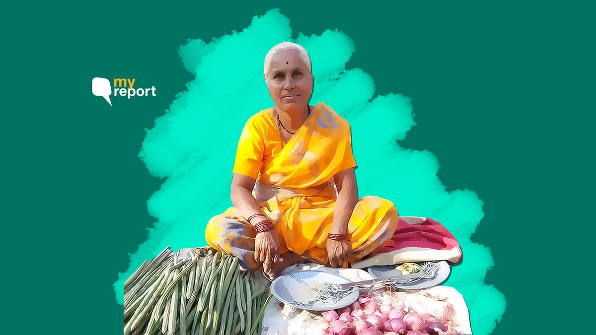 A farmer from Bhondavewadi village sells onions at the local haat in Maharashtra's Dhawalpuri.