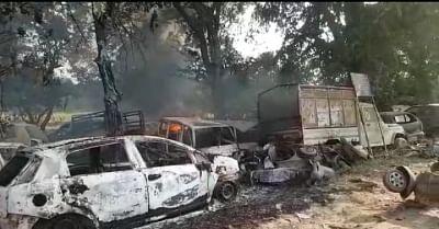 Bulandshahr: A view of vehicles that were damaged after violence erupted in Uttar Pradesh