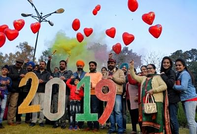 Amritsar: People bid adieu to 2018 and welcome 2019 in Amritsar, on Dec 31, 2018. (Photo: IANS)