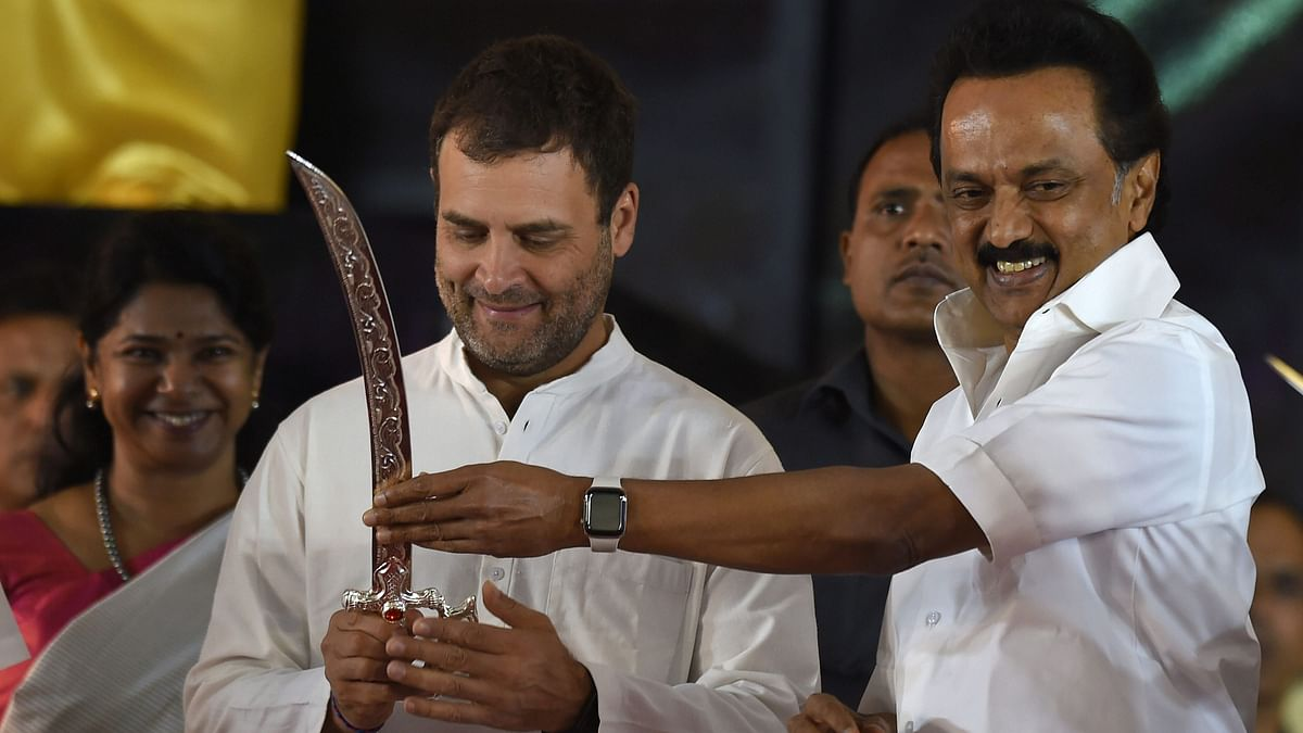 File image of Congress President Rahul Gandhi being presented a sword by DMK President MK Stalin at a public meeting after unveiling a life-size bronze statue of late Chief Minister and DMK President M Karunanidhi at YMCA ground.