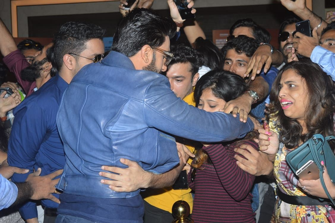 Ranveer Singh greeting his fans.