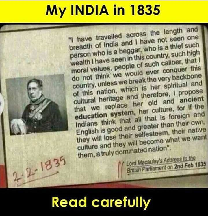 A viral post reveals Macaulay's address in the British Parliament on 2 February 1835.