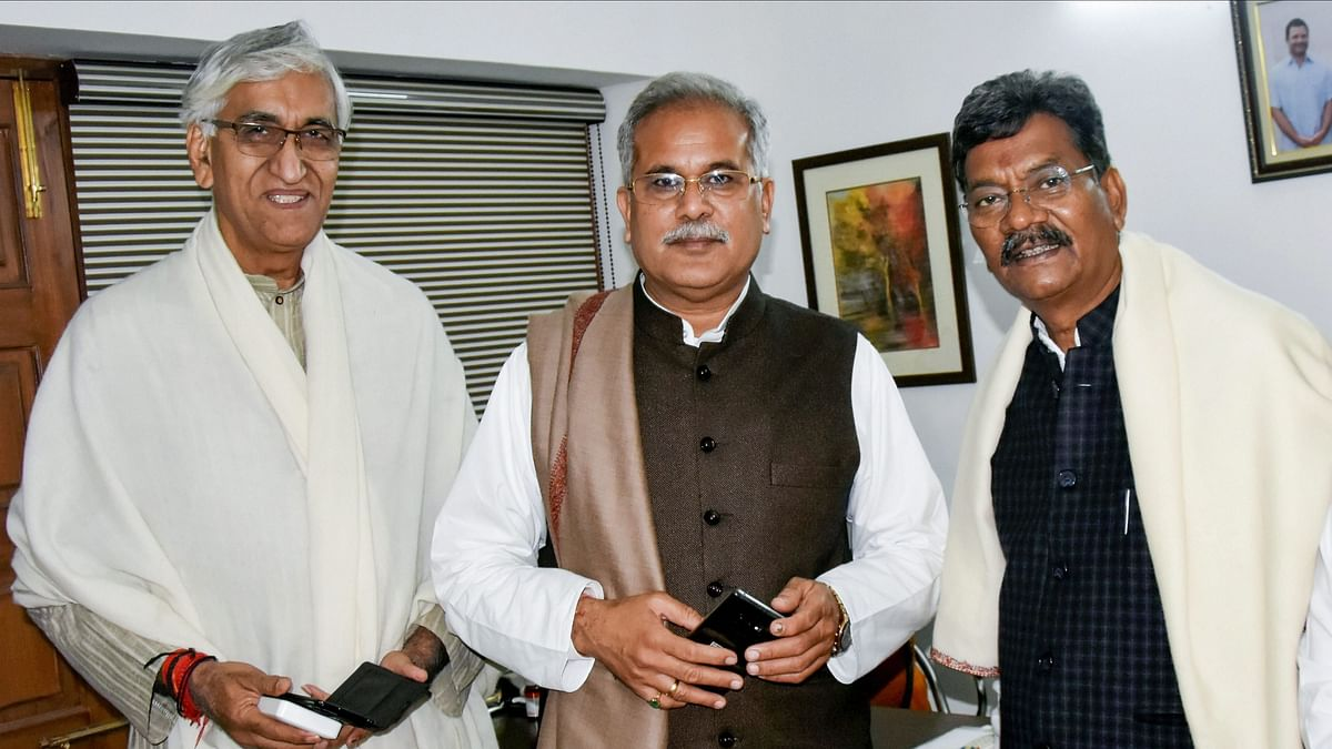 Senior leaders of Congress party's Chhattisgarh unit, from left, TS Singh Deo, Bhupesh Baghel and Charan Das Mahant in Delhi.