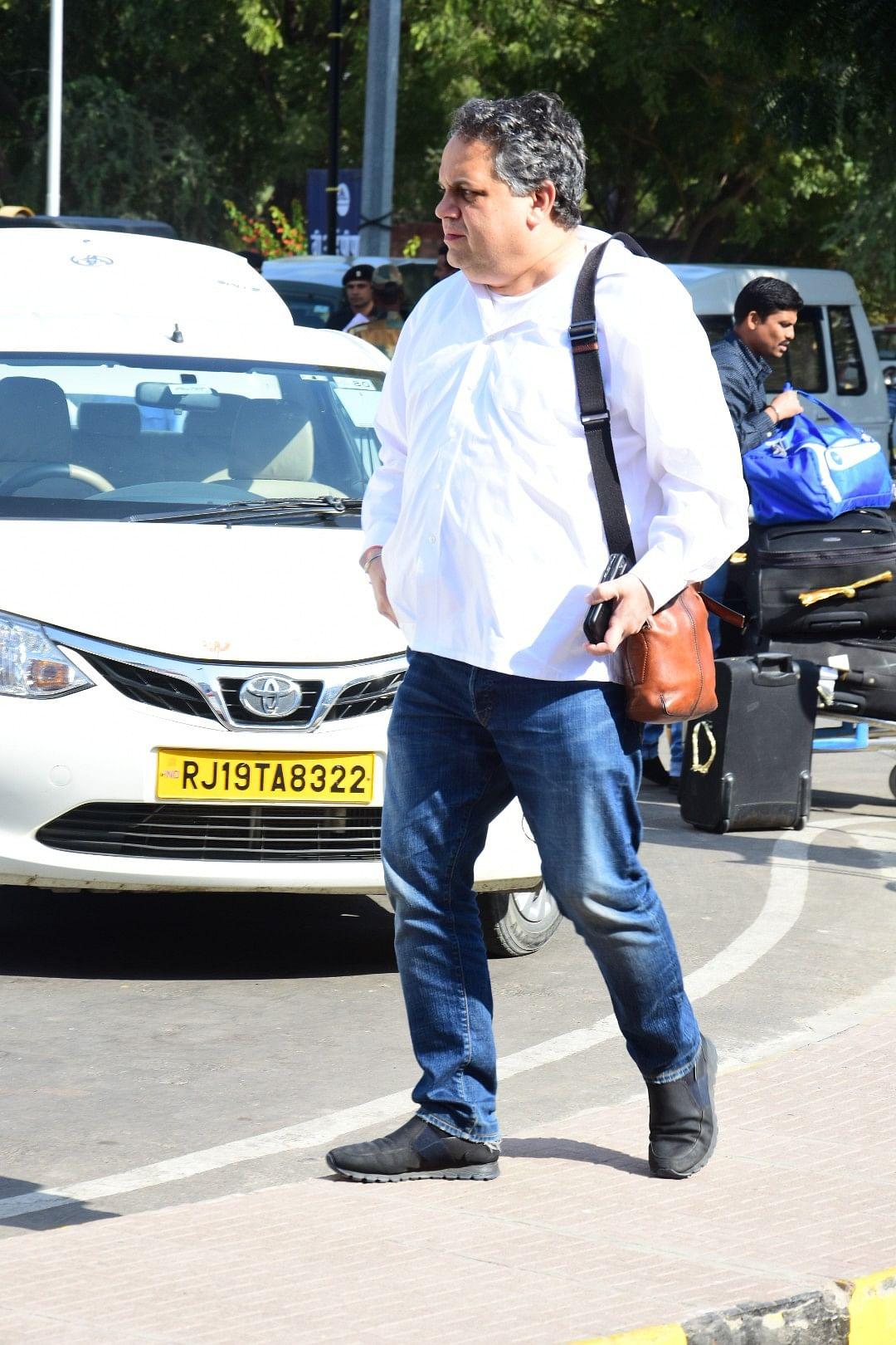 Designer Sandeep Khosla at the airport.