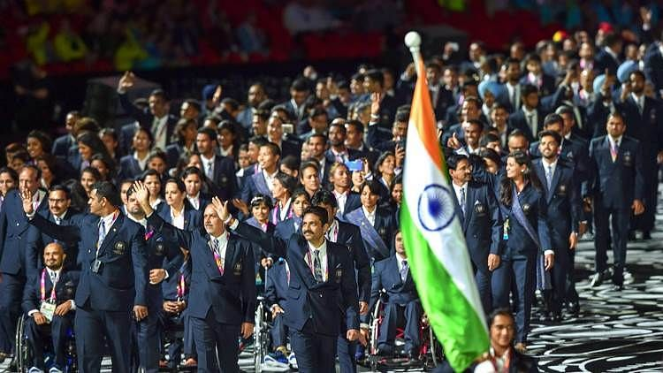 The Indian contingent, led by PV Sindhu, at the opening ceremony of the 2018 Commonwealth Games in Gold Coast.
