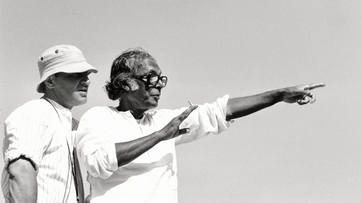 Mrinal Sen on the sets of a film.