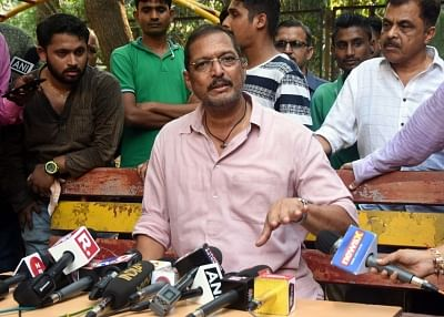 "Mumbai: Actor Nana Patekar addresses a press conference regarding sexual harassment allegations levelled by actress Tanushree Dutta against him, in Mumbai on Oct 8, 2018. He maintained that the ""truth"" he spoke 10 years ago regarding Tanushree Dutta"