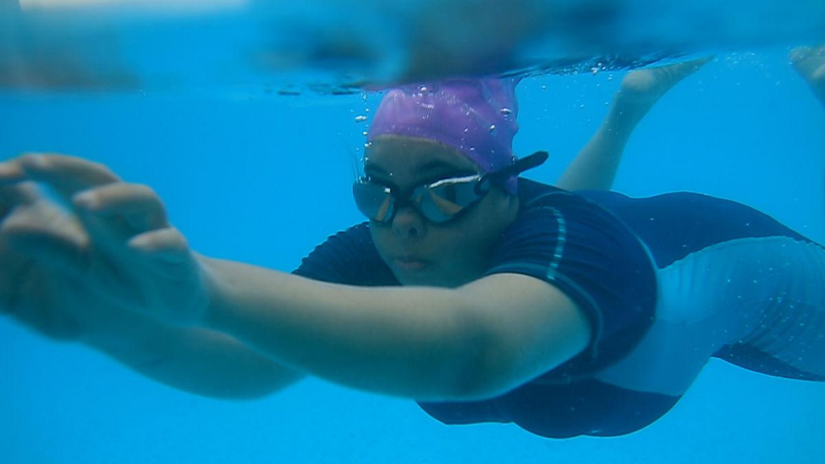 Sneha in the water.