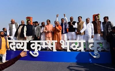Prayagraj: Uttar Pradesh Chief Minister Yogi Adityanath flanked by his deputies Keshav Prasad Maurya and Dinesh Sharma at the cabinet meeting at the sprawling tented complex on the banks of the holy trinity of Ganga, Yamuna and the mythical Saraswati river, in Prayagraj - the venue of the Kumbh; on Jan 29, 2019. The Uttar Pradesh cabinet met outside the state capital on Tuesday for only the second time in history. The first meeting of the Uttar Pradesh cabinet away from Lucknow was held in 1962