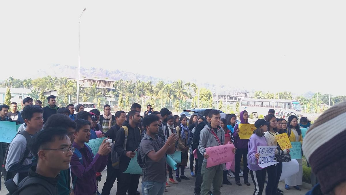 Students  at the protest.