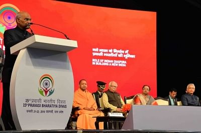 Varanasi: President Ram Nath Kovind addresses at the valedictory session of the 15th Pravasi Bharatiya Divas in Varanasi, on Jan 23, 2019. (Photo: IANS/MEA)