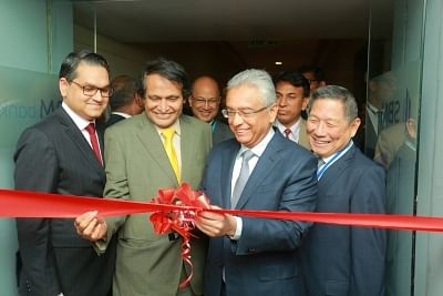 Mumbai: Mauritius Prime Minister P.K. Jugnauth and Union Commerce and Industry and Civil Aviation Minister Suresh Prabhu inaugurate the SBM Bank (India) Ltd in Mumbai, on Jan 25, 2019. SBM Bank (India) Ltd becomes the first foreign bank in India that was granted the Reserve Bank of India (RBI) licence to operate as a wholly owned subsidiary. (Photo: IANS)