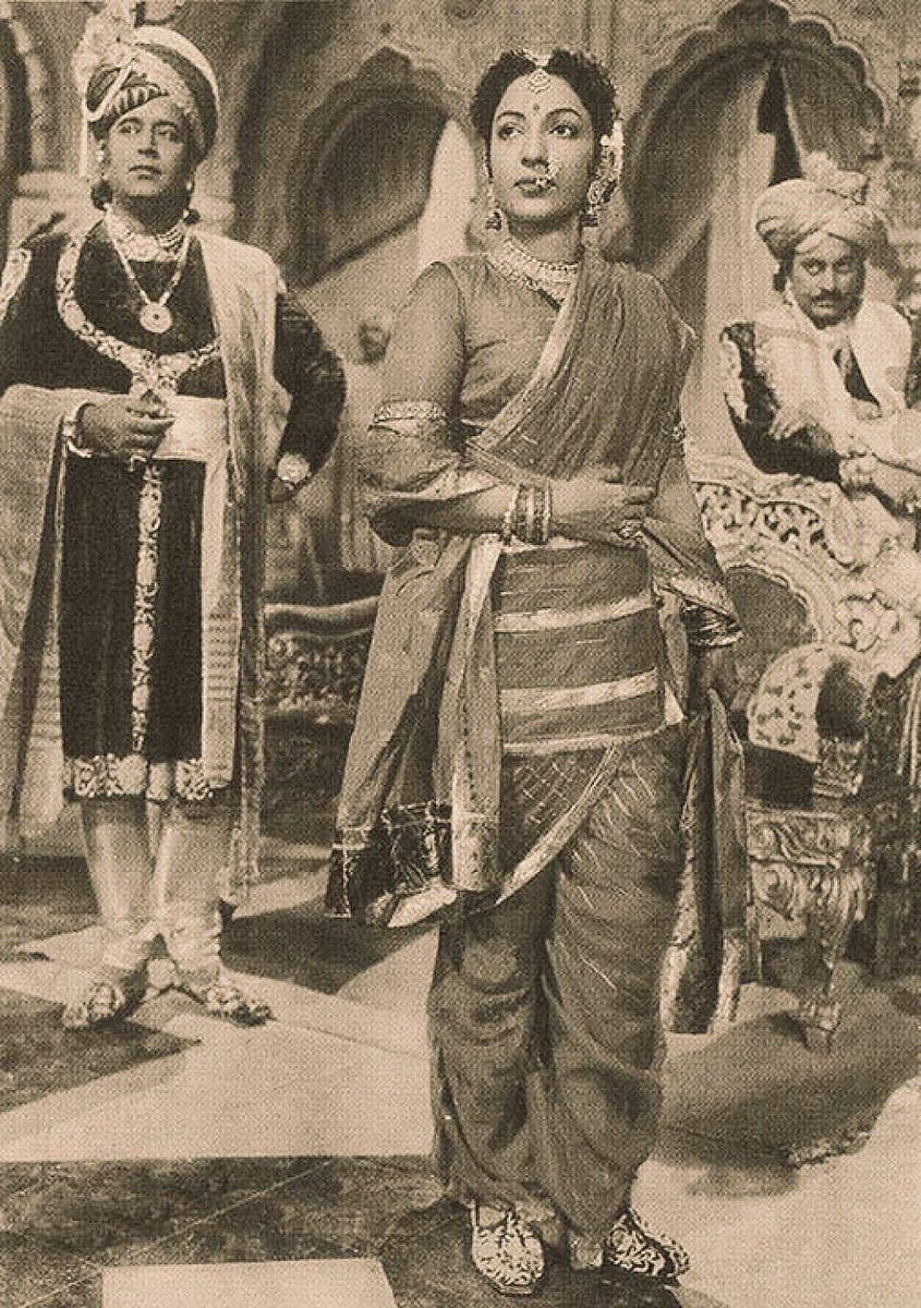 Mehtab as Rani Lakshmibai in <i>Jhansi Ki Rani</i> (1953).