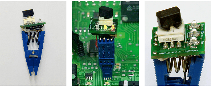 Criminals could use a clip-on device (in pic) that clips directly to the memory chips that record the votes inside the EVM to change the votes recorded in the EVM
