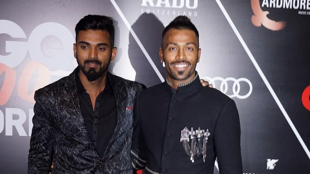 File picture of KL Rahul (left) and Hardik Pandya, who were temporarily suspended from Indian cricket for their controversial comments on Koffee With Karan.
