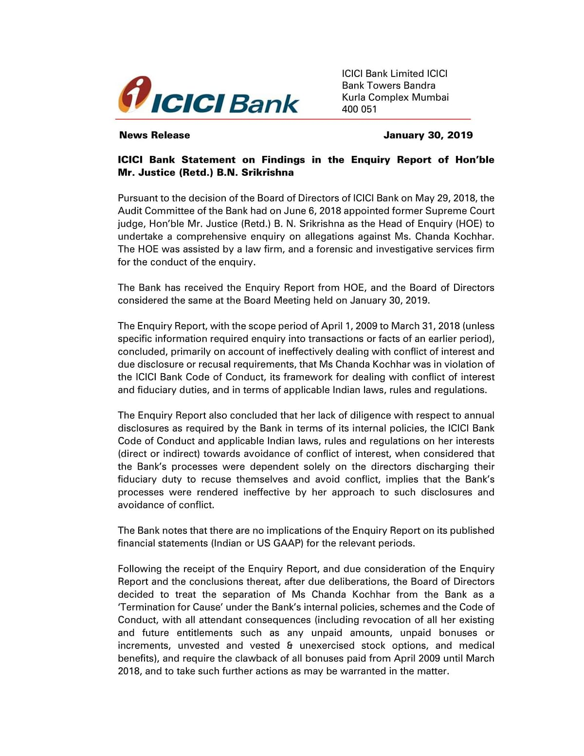Disappointed, Hurt & Shocked: Chanda Kochhar on ICICI Probe Report