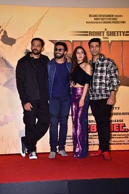 "Mumbai: Director Rohit Shetty and producer Karan Johar with actors Ranveer Singh and Sara Ali Khan at the trailer launch of their upcoming film ""Simmba"" in Mumbai, on Dec 3, 2018. (Photo: IANS)"